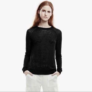 Theory Navy Linen Blend Open Weave Sweater